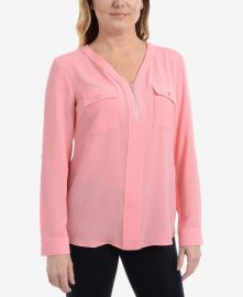 NY Collection Zip Neck Top at Macys