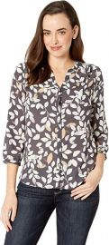 NYDJ Morning Frost Vintage Pewter Pintuck Blouse at Amazon