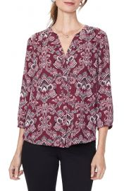 NYDJ Pleat Back Blouse in Orchid Garden at Nordstrom