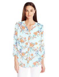 NYDJ Women s 3 4 Sleeve Pintuck Blouse at Amazon