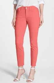 NYDJ and39Clarissaand39 Colored Stretch Ankle Skinny Jeans in Coral at Nordstrom
