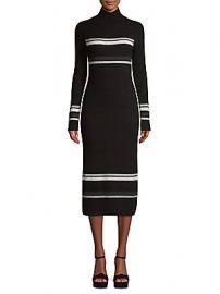 Naadam - Stripe Wool Cashmere Rib-Knit Turtleneck Dress at Saks Off 5th