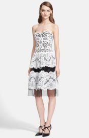 Naeem Khan Mixed Lace Strapless Dress at Nordstrom