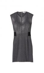 Nailhead dress in grey at Rebecca Taylor