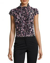 Nanette Lepore Cap-Sleeve Floral Silk Ruffle-Trim Blouse  Black Multicolor at Neiman Marcus