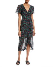 Nanette Lepore Getaway Floral Silk V-Neck Dress at Neiman Marcus