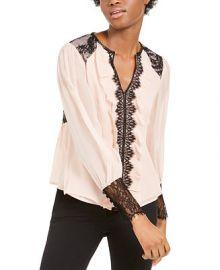 Nanette Lepore Silk Lace-Trim Blouse   Reviews - Tops - Women - Macy s at Macys