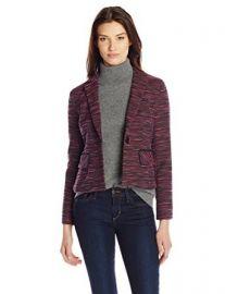 Nanette Lepore Womenand39s Interwoven Striped Tweed Jacket at Amazon