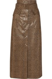 Nanushka - Aarohi belted snake-effect vegan leather midi skirt at Net A Porter
