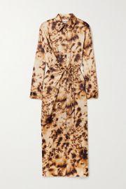 Nanushka - Bisso wrap-effect tie-dyed satin-twill midi dress at Net A Porter