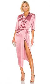 Nanushka Lais Wrap Dress in Rose from Revolve com at Revolve