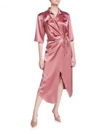 Nanushka Lais Yoked Satin Wrap Dress at Bergdorf Goodman