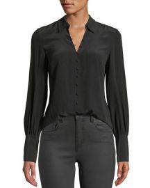 Naomi Button-Front Silk Blouse at Bergdorf Goodman