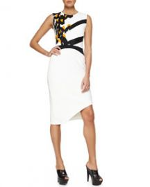 Narciso Rodriguez Floral-Embroidered Asymmetric Crepe Dress at Neiman Marcus