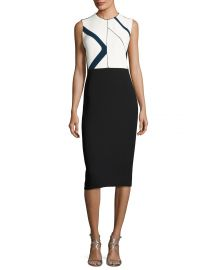 Narciso Rodriguez Graphic-Print Sleeveless Sheath Dress  White at Neiman Marcus