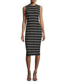 Narciso Rodriguez Windowpane Jacquard Sleeveless Sheath Dress at Neiman Marcus