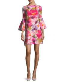 Natalia Bell-Sleeve Floral-Print Dress at Bergdorf Goodman