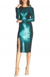 Natalie Sequin Long Sleeve Body-Con Dress at Nordstrom