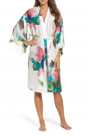 Natori Water Lily Print Satin Wrap Robe at Nordstrom