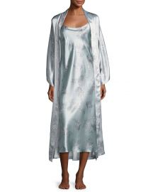 Natori Wisteria Floral-Print Silk Long Robe  Blue Pattern   Neiman at Neiman Marcus