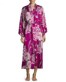 NatoriAziome Floral-Print Long Robe  Purple Pattern at Neiman Marcus