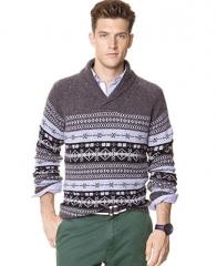 Nautica Sweater Fair Isle Shawl Sweater - Sweaters - Men - Macys at Macys