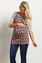 Navy Blue Floral 3 4 Sleeve Maternity Top at Pink Blush