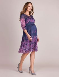 Navy Blue Pink Floral Silk Maternity Dress at Seraphine