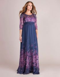 Navy Blue Pink Floral Silk Maternity Gown at Seraphine