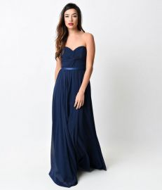 Navy Chiffon Strapless Sweetheart Corset Long Gown at Unique Vintage