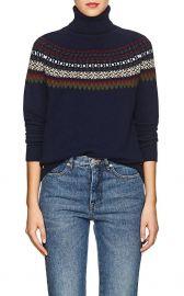 Navy Fair Isle Turtleneck Sweater by Barneys New York at Saks Fifth Avenue