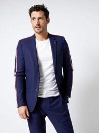 Navy Side Stripe Skinny Fit Suit Jacket by Burton at Burton