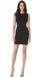 Navy and black colorblock dress by DVF at Shopbop