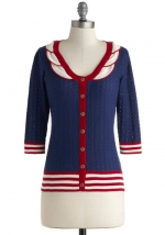 Navy and red cardigan at Modcloth at Modcloth