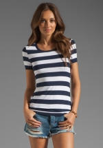 Navy and white striped tee by Bailey 44 at Revolve
