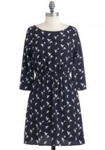 Navy blue bird print dress at Modcloth