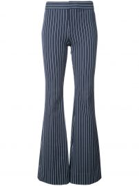 Navy blue cotton blend flared pinstripe trousers from Derek Lam 10 Crosby at Farfetch