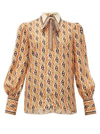 Neck-Tie Chain-Print Silk Blouse by Gucci at Matches