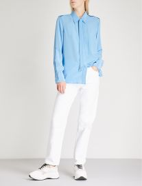 Neck-Tie Silk-Crepe Shirt by Sandro at Selfridges