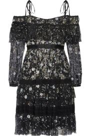 Needle   Thread   Supernova off-the-shoulder ruffled embellished tulle mini dress at Net A Porter