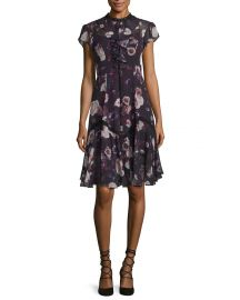 Needle   Thread Victorian Cap-Sleeve Ruffle Dress  Burgundy Floral Print at Neiman Marcus