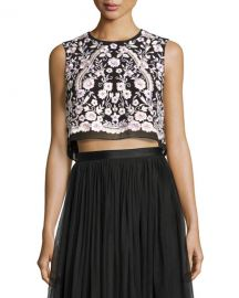 Needle and Thread Embroidered Crop top at Neiman Marcus