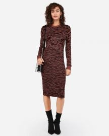 Negin Mirsalehi Fitted Tiger Print Midi Sweater Dress by Express at Express