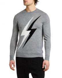 Neil Barrett Men  x27 s Lightning Bolts Crewneck Sweater at Neiman Marcus