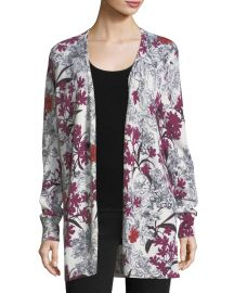 Neiman Marcus Cashmere Collection Cashmere Floral-Print Open at Neiman Marcus