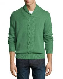 Neiman Marcus Cashmere Shawl-Collar Cable-Knit Pullover  at Neiman Marcus