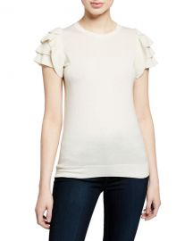 Neiman Marcus Cashmere Collection Cashmere-Blend Crewneck Short-Sleeve Ruffle-Shoulder Top at Neiman Marcus