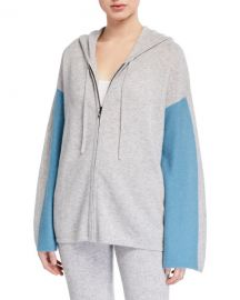 Neiman Marcus Cashmere Collection Cashmere Colorblock Zip-Front Hoodie at Neiman Marcus
