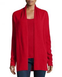 Neiman Marcus Cashmere Collection Cashmere Draped Cardigan in Red at Neiman Marcus