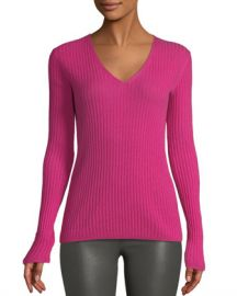 Neiman Marcus Cashmere Collection Cashmere Ribbed V-Neck Sweater at Neiman Marcus